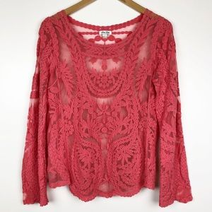 Soho Girls Coral Long Sleeve Lace Top